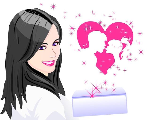 Biglietto per il giorno degli innamorati una ragazza con una busta che parte dal cuore le sagome del...
