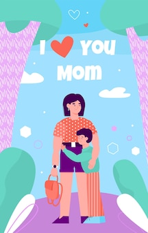 Disegno di carta che esprime l'amore dei bambini per l'illustrazione piana di giorno di madri. Vettore Premium
