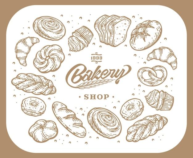 Disegno di carta con illustrazione di cottura disegnata a mano di inchiostro. modello vintage con pane e pasticcini doodle schizzo.