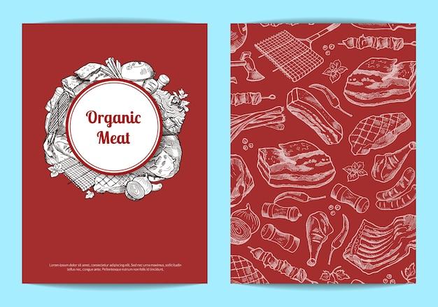 Modello di scheda o volantino con elementi di carne monocromatica disegnati a mano per macelleria