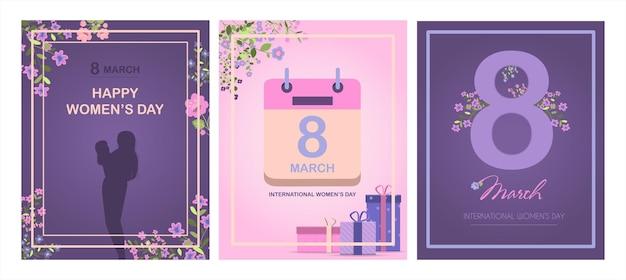 Carta per l'illustrazione vettoriale della festa della mamma internazionale per marzo con fiori e saluti ba...