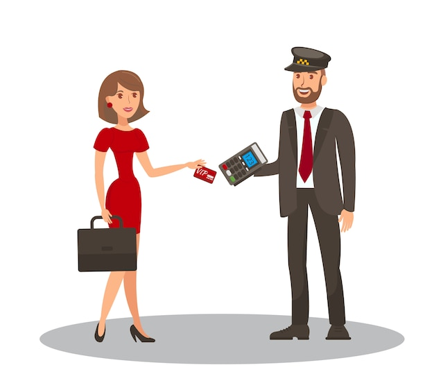 Pagamento con carta per taxi flat cartoon illustration
