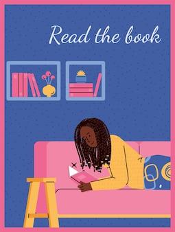 Carta o poster con donna che legge libro a casa fumetto illustrazione piatta