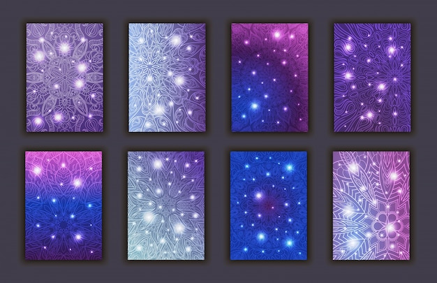 Set di carte con sfondo di elementi decorativi mandala incandescente floreale.