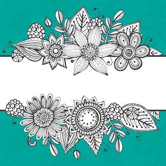 Modello di carta con fiori fantasia disegnati a mano