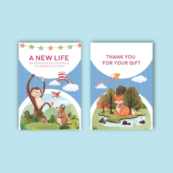 Modello di carta con illustrazione dell'acquerello di concetto di animali felici