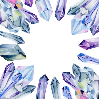 Modello di scheda con pietre preziose dell'acquerello e cristalli nei colori blu su fondo bianco
