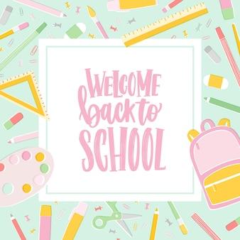 Modello di carta con scritta welcome back to school scritta con carattere calligrafico corsivo