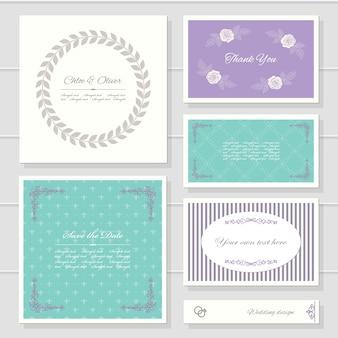 Modelli di carte per il design di matrimoni o compleanni.