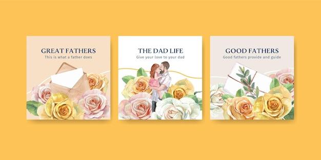Modelli di carte con il concetto di festa del papà in stile acquerello