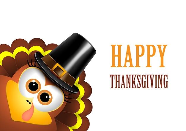 Carta per il giorno del ringraziamento. la turchia in un cappello da pellegrino.