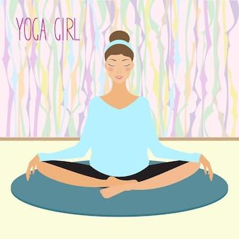 Scheda con bella ragazza che pratica yoga in palestra