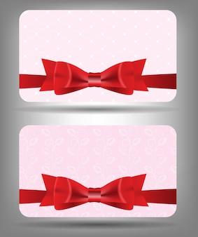 Biglietto con fiocco e nastro. illustrazione vettoriale