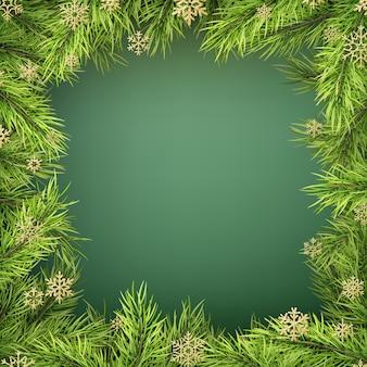 Scheda con bordo albero di natale, cornice di rami di abete realistico su sfondo verde.