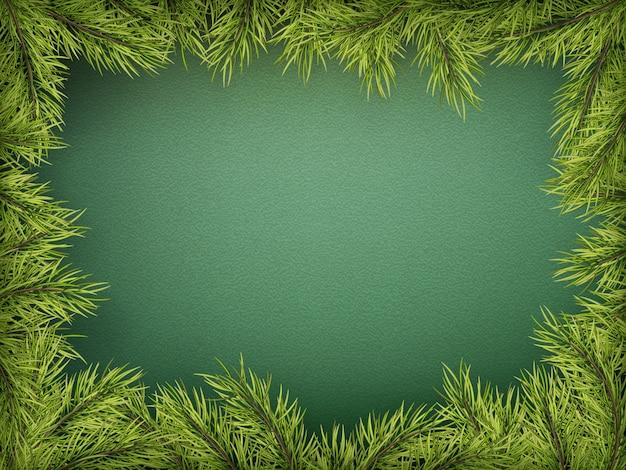 Scheda con bordo dell'albero di natale, cornice di rami di abete realistico