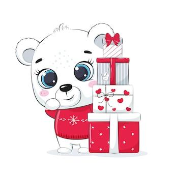Carta con un orso polare con scatole regalo. buon natale design.