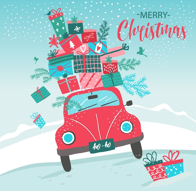 Carta con macchina rossa e regali di natale
