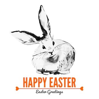 Scheda con schizzo coniglio di pasqua. illustrazione disegnata a mano