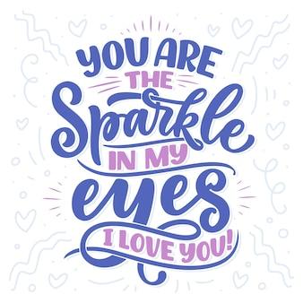 Carta con slogan sull'amore in stile calligrafico. composizione scritta astratta.