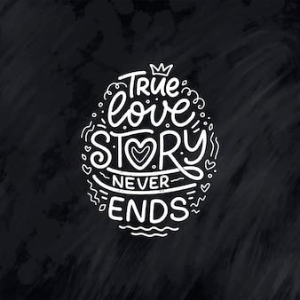 Biglietto con slogan sull'amore in stile calligrafico
