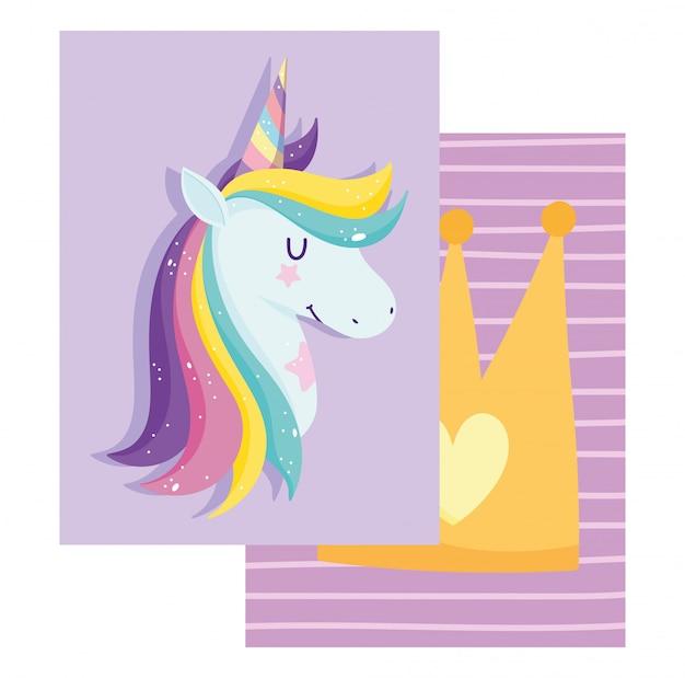 Carta con unicorno con capelli arcobaleno e corona