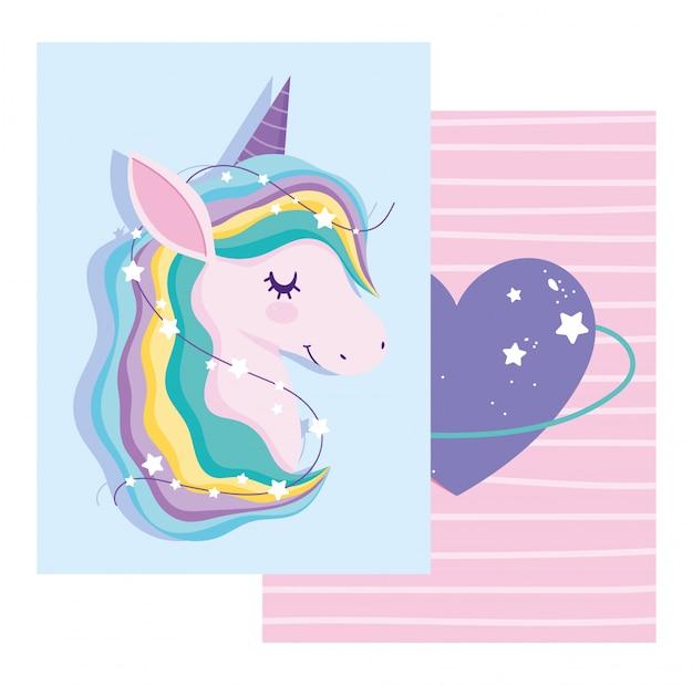 Carta con unicorno con capelli arcobaleno e cuore viola