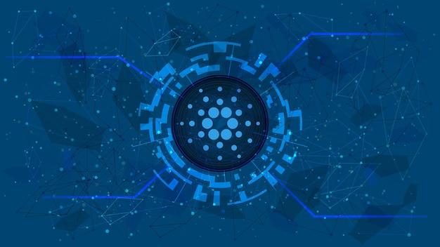 Simbolo del token cardano in un cerchio digitale con un tema di criptovaluta su sfondo blu. icona della moneta ada. oro digitale per sito web o banner. copia spazio. vettore eps10.