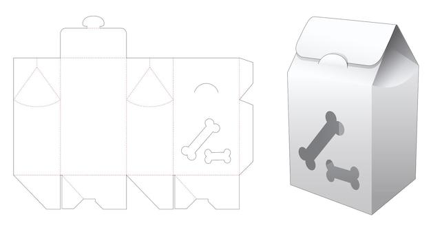 Scatola portaborse in cartone con sagoma fustellata finestra a forma di ossa di cane