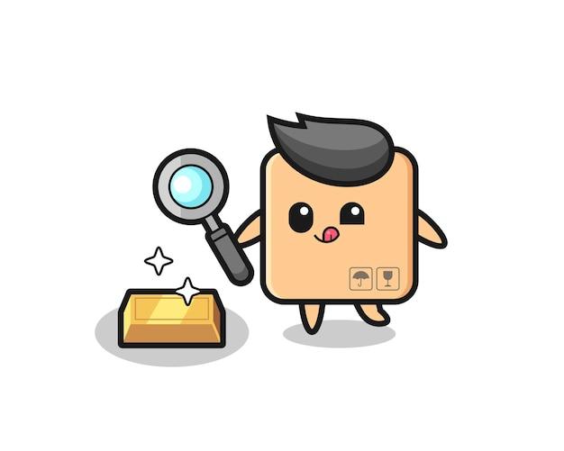 Il personaggio della scatola di cartone sta controllando l'autenticità del lingotto d'oro, design in stile carino per t-shirt, adesivo, elemento logo