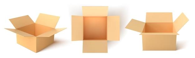 Scatola di cartone. scatole aperte vuote isolate su priorità bassa bianca. illustrazione vettoriale.