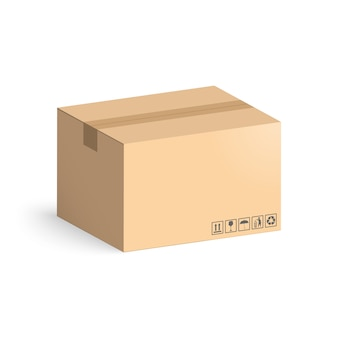 Scatola di cartone isolata su fondo bianco. scatole di layout per la consegna.
