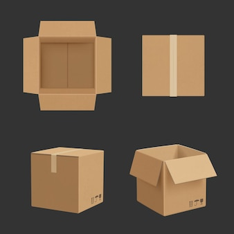 Scatola di cartone. viste differenti della scatola di carta che trasportano il modello realistico di vettore del pacchetto. illustrazione carta cartone vuoto, scatola contenitore vuoto per confezione