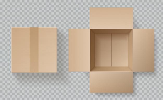 Vista dall'alto della scatola di cartone. apra le scatole chiuse dentro e sopra, il modello del pacchetto marrone, il modello realistico realistico del cartone di consegna