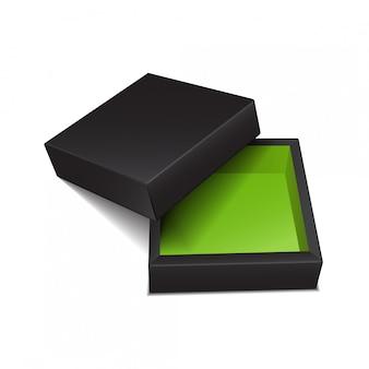 Scatola di cartone. pacchetto realistico nero di vettore per software, dispositivo elettronico o confezione regalo