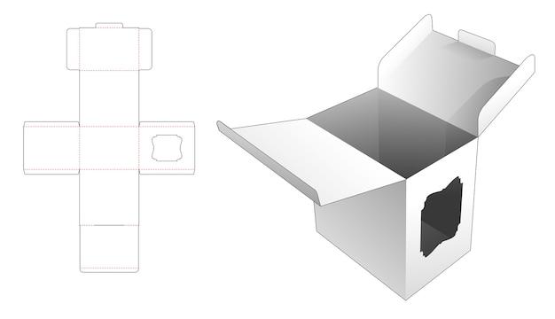 Scatola di cartone con 2 ribaltine e sagoma fustellata per finestra