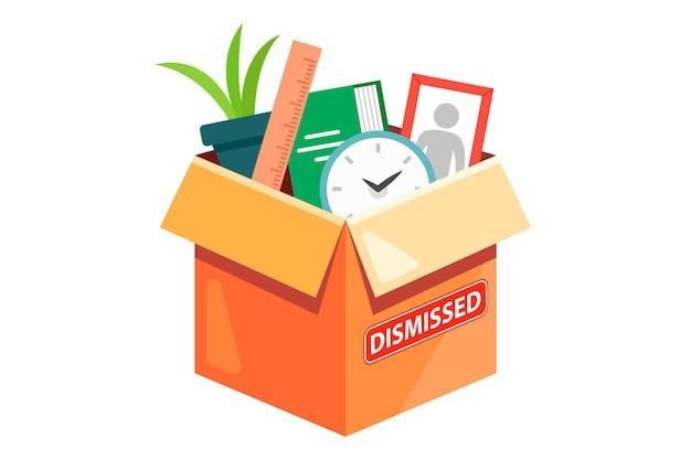 Una scatola di cartone con gli effetti personali di un dipendente licenziato. illustrazione piatta isolati su sfondo bianco.