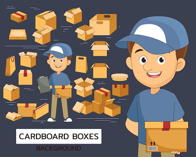 Fondo di concetto di scatole di cartone. icone piatte.