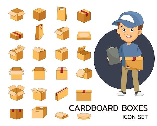 Icone piane di concetto di scatole di cartone.