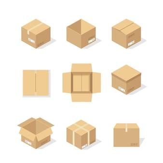 Scatole di cartone o carta da imballaggio e pacchi di cartone della scatola di spedizione e pacchi di consegna pila