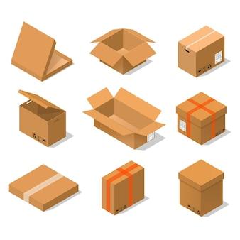 Scatole di cartone impostate vista isometrica varie forme di imballaggio - aperto, chiuso, grande e piccolo.