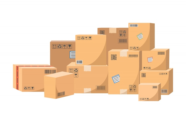 Scatole di cartone per il trasporto di merci.