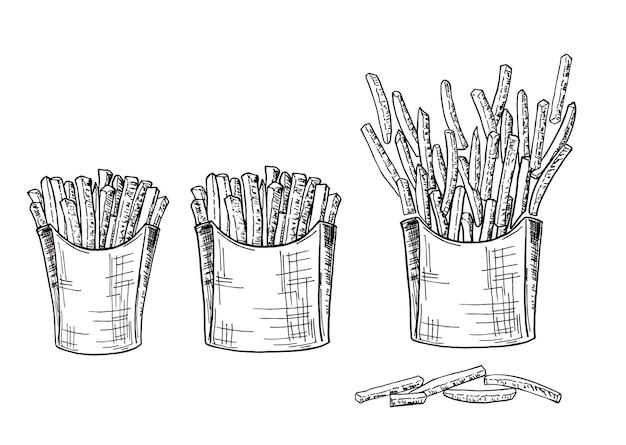 Scatole di cartone con patatine fritte fatte a mano illustrazione vettoriale di fast food di disegno a mano