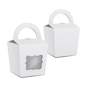 Set di scatole bianche di torta di cartone. per fast food, regalo.