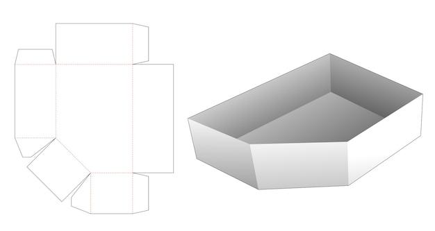 Modello fustellato per vassoio smussato in cartone