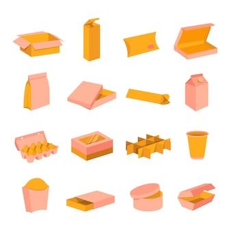 Icone del fumetto delle scatole d'imballaggio di spedizione di consegna del cartone messe. aperto, chiuso, per cibo, trasporto, scatola regalo forniture illustrazione piatta