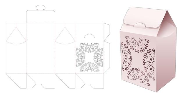 Scatola portaborse in cartone con sagoma fustellata mandala stampata