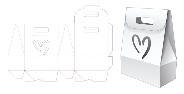 Confezione borsa con manico in cartone con sagoma fustellata a forma di cuore