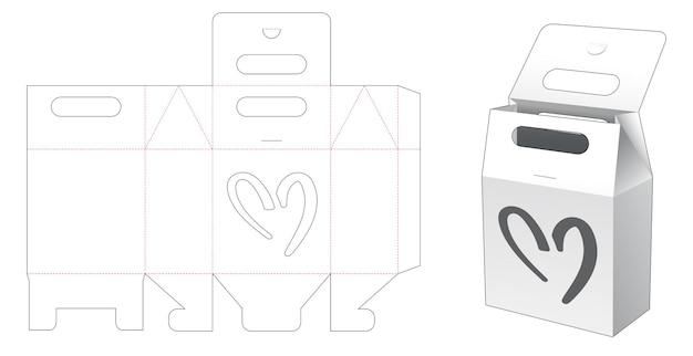 Borsa con manico in cartone con sagoma fustellata a forma di cuore