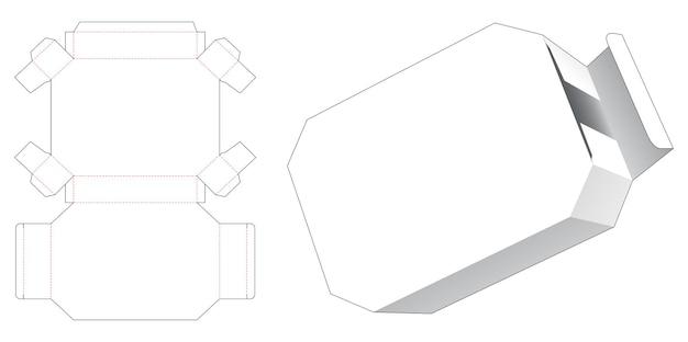 Modello fustellato di scatola di latta esagonale di cartone Vettore Premium