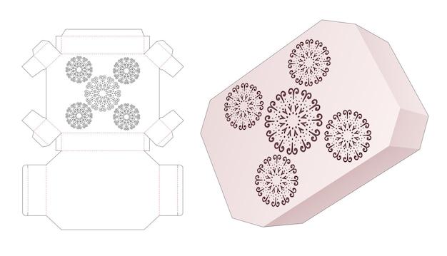 Scatola di latta esagonale in cartone con modello fustellato a mandala stampato